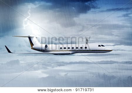 Business Man Standing On The Top Of Private Jet