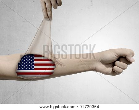 Man Open His Skin And Show Usa Flag Inside