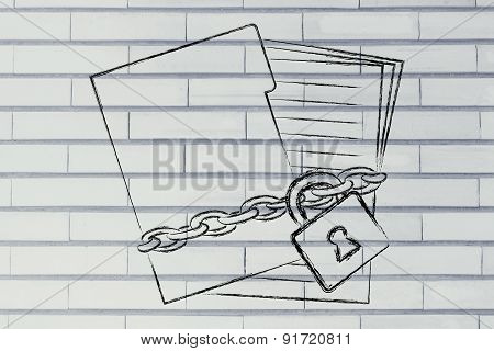 Protecting Private Documents: Illustration With Chained Folder And Pages