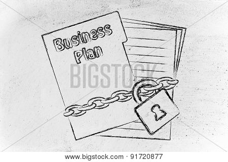 Confidential Business Plan: Illustration With Chained Pages