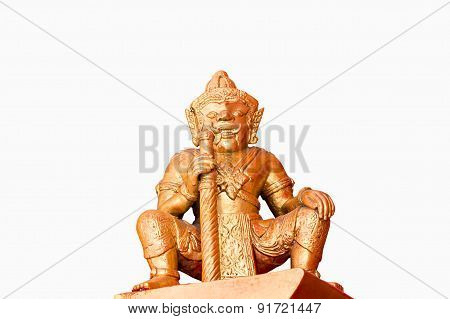 Thai Male Ogre Statue On White Background