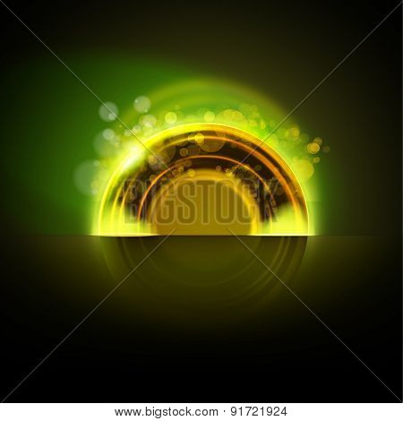 Abstract Green Glowing Torus Background