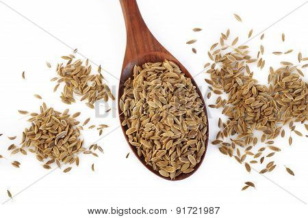 Dill Seeds In Wooden Spoon
