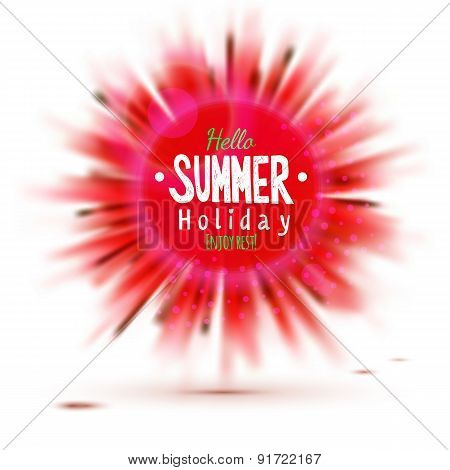 Enjoy Summer Holidays Blurred Red Circle Label