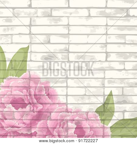 Vintage Bricks Background With Peonies