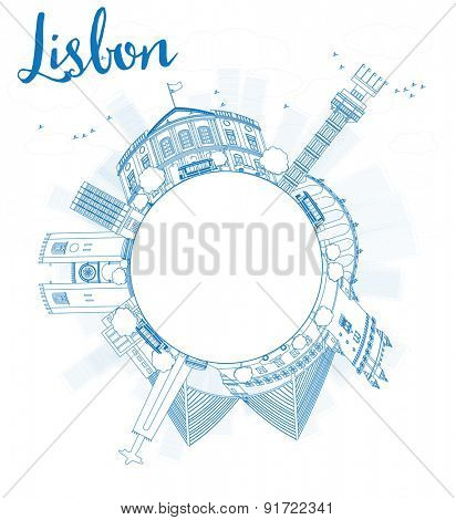Outline Lisbon city skyline with blue buildings and copy space. Vector illustration