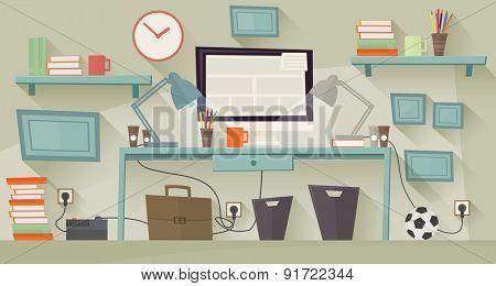 Workplace concept. Flat design. Vector illustration
