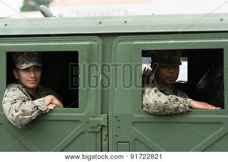 Us Military Inside The Vehicle