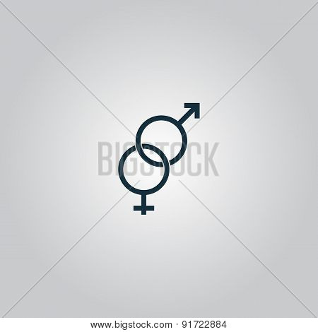Twisted male and female sex symbol