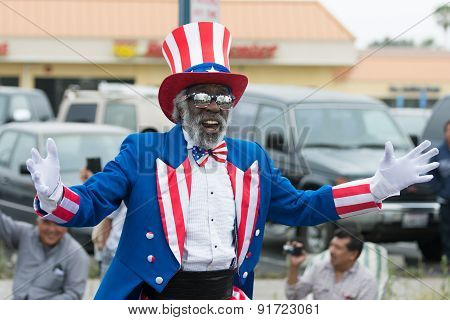 A Man Dressed As Uncle Sam