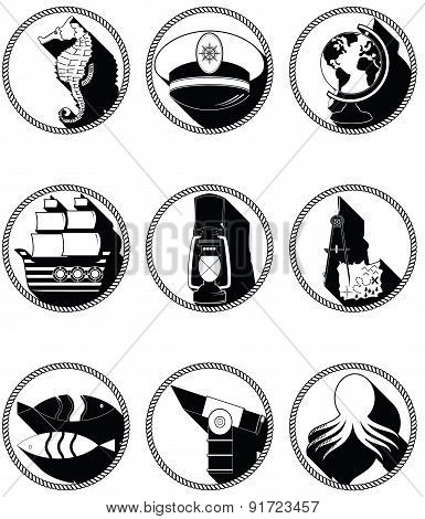 Nautical Elements III Icons In Knotted In Black And White