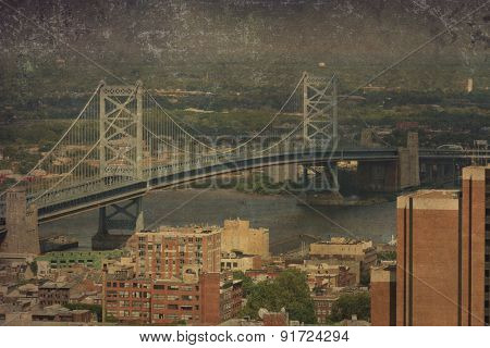 Vintage view of the Ben Franklin Bridge in Philadelphia.