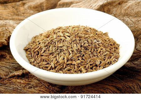 Dill Seeds In White Bowl