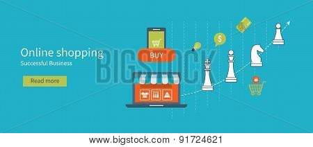 Set of flat design vector illustration concepts for online shopping and successful business.