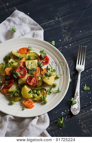Roasted Vegetables In A Light Vintage Plate On A Dark Surface