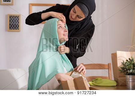 Caucasian Girl With Muslim Veil