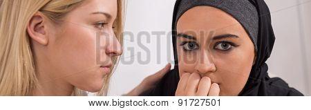 Scared Muslim Woman