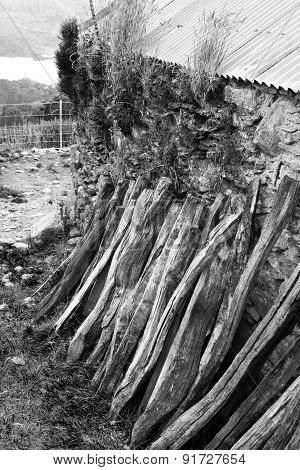 Wood Stacked Against The Wal