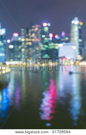 Singapore City Bokeh abstract Background with water reflection