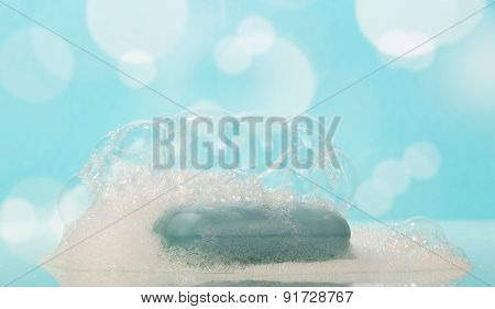 Piece of soap with foam