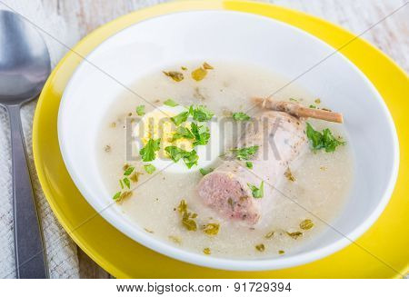 Borscht With Eggs And White Sausage. (polish Easter Soup)