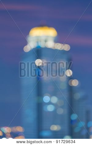 Abstract blur bokeh background of city lights view