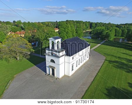 Aerial View Of Hoersholm Church Located In Denmark