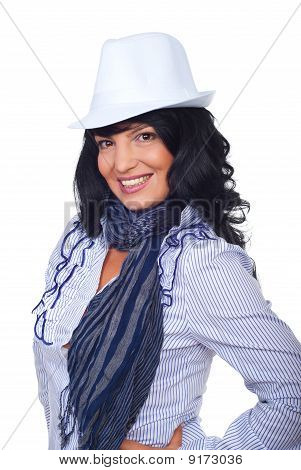 Elegant Woman With White Hat