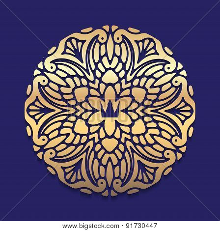 Ornate decorative lace gold frame mandala on blue dark background with crown.