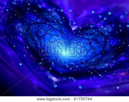 Magical Heart Shape Spiral In Space Fractal With Particles