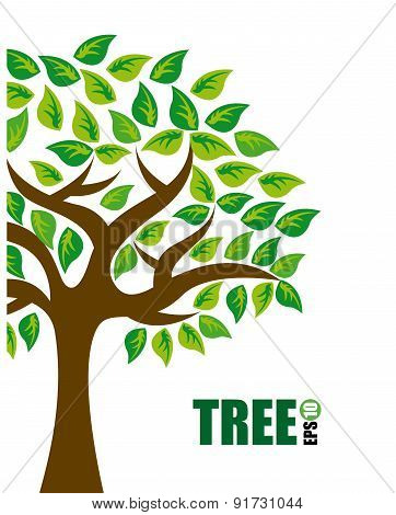 Ecology Green Tree design over white background vector illustration