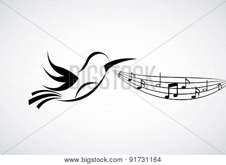 Bird and Music design over gray background vector illustration