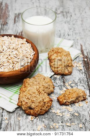 Oatmeal Cookies And Milk
