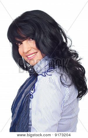Smiling  Brunette Woman With Bangs