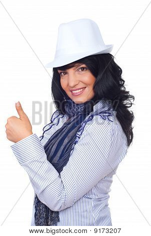 Modern Businesswoman Giving Thumbs