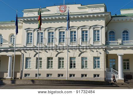 Exterior of the Presidential palace early in the morning in Vilnius, Lithuania.