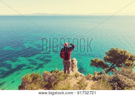 Beautiful rocky coastline in Greece,instagram filter
