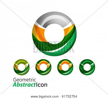Set of abstract geometric company logo ring, circle. Vector illustration of universal shape concept made of various wave overlapping elements