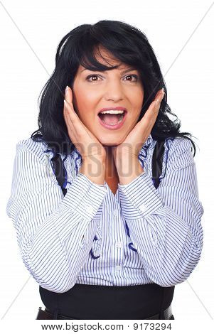 Happy Surprised Business Woman