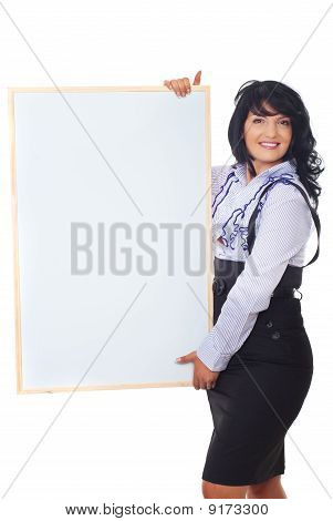 Cheerful Business Woman Holding Banner