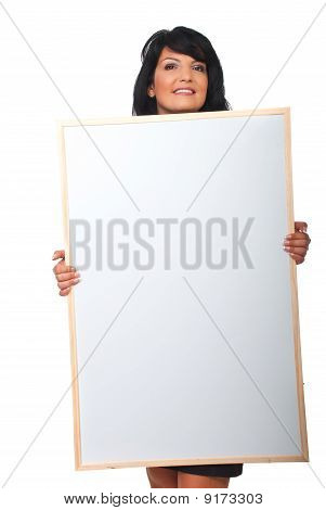 Attractive Woman Holding Big Blank Banner