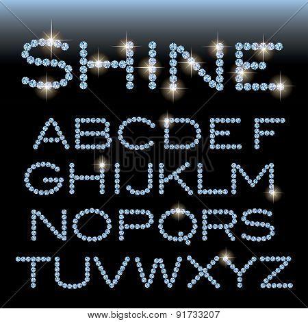 vector alphabet with diamonds