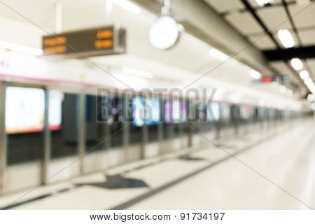 Blur background of train station