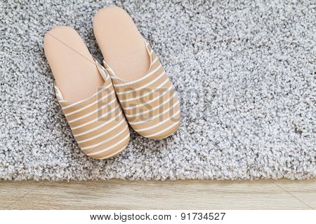 Slipper on carpet