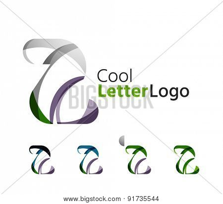 Set of abstract Z letter company logos. Business icons made of overlapping flowing waves. Light color modern minimal design