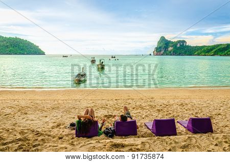 Late afternoon on the beach, Thailand