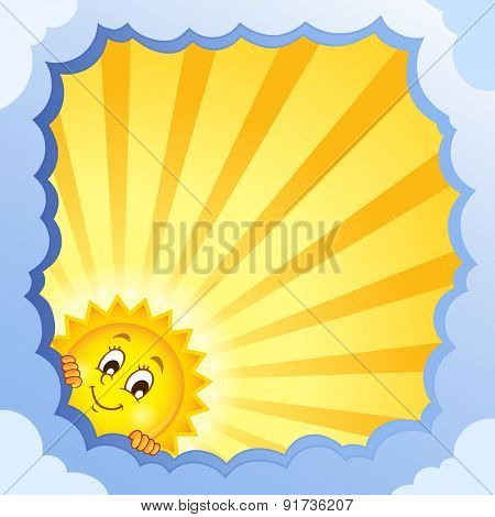 Cloudy frame with summer theme 4 - eps10 vector illustration.