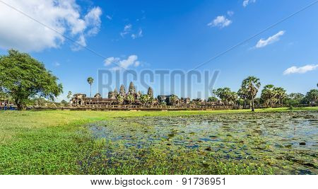 Angkor Wat Temple in sunny day Cambodia.