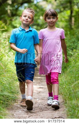 Walking Boy And Girl