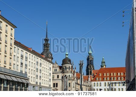 Skyline Of Dresden Towers And Turrets, Saxony, Germany.